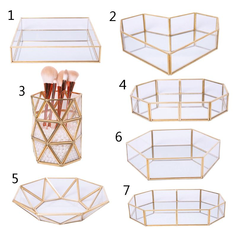 Mirror Gold Octagonal Square Jewelry Tray Dish Plate Ring Earrings Cosmetic Vanity Tray Decorative Tray Jewelry Display