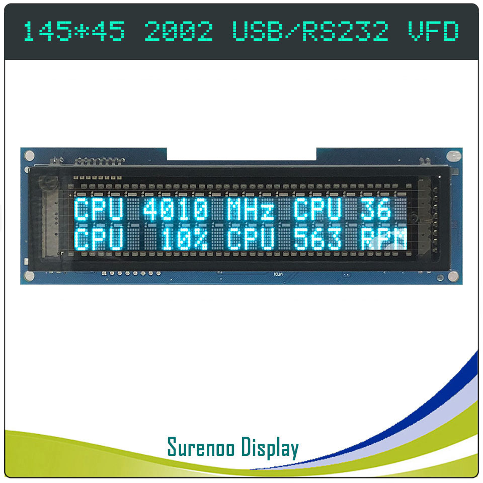 145.00*45.00MM 2002 20X2 202 USB / RS232 USB2LCD POS VFD Display LCD Module Screen Panel For LCD SmartIe / AIDA64