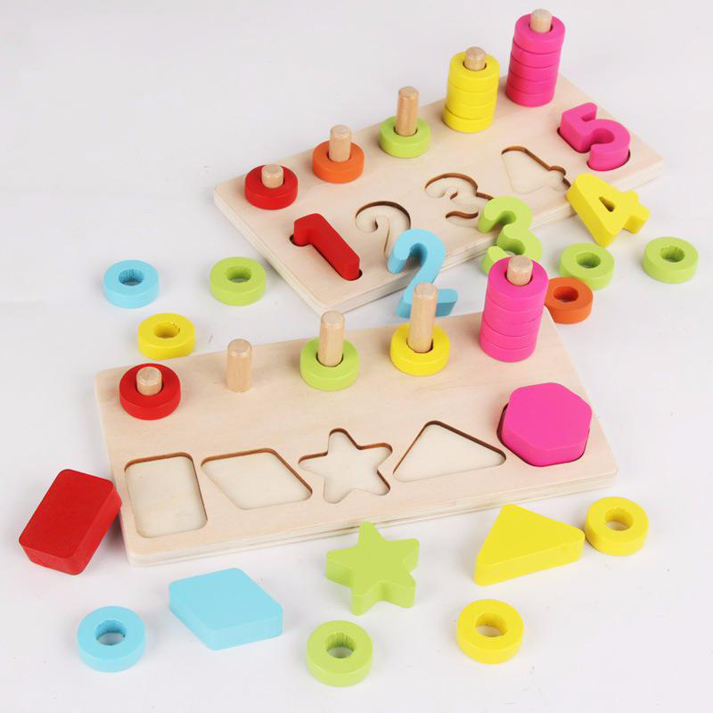 Maria Montessori Early Education Wood Shape Matching Board Intelligence For Children Number To Number Toys