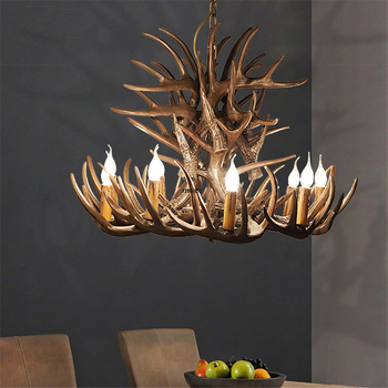 American Retro Antler chandelier Living Restaurant Bar LED chandeliers  lighting Antler Industrial LOFT Resin Deer Horn Hanglamp 1