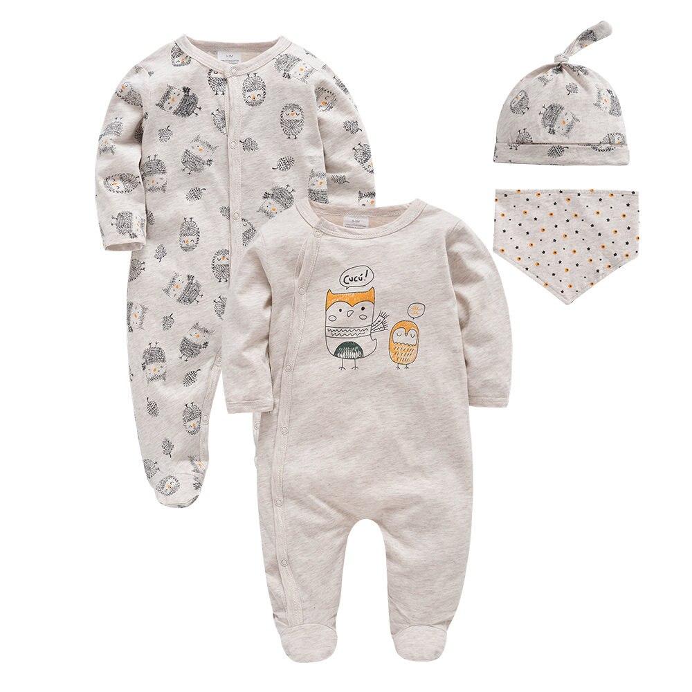 Honeyzone Baby Footies Jumpsuits 0-9Months Cartoon Organic Cotton Pajamas Body Suits For Baby Boy Girl Toddler Pyjamas Bebe