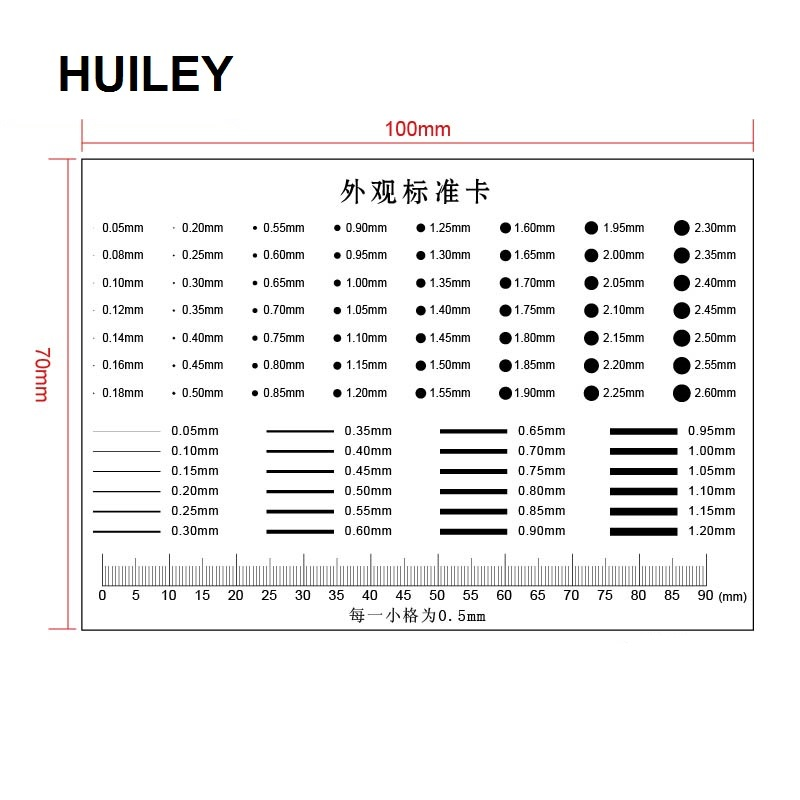 Appearance Standard Card Gauge Point Gauge Transparent Film Stain Comparison Card Stain Crack Contrast PET Ruler Scales Dot Line