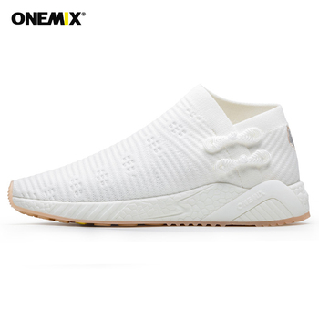 Onemix 2020 Running Shoes Men Weaving Breathable Light Sneakers Shoes Knitted Vamp Shoes Walking Lightweight Slip Resistan