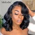 Парик Melodie Body Wave, короткий Боб, парик, парик из человеческих волос на сетке спереди, бразильский парик с застежкой спереди 4x4 для черных женщи...