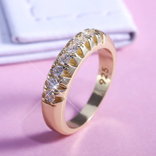 Fashion Shine Inlay Single Row Crystals Ring For Women Luxury Charm Gold Color Rings Engagement Stainless Steel Rings Jewelry tailor made luxury western rose gold color inlay health surgical stainless steel wedding bands rings sets