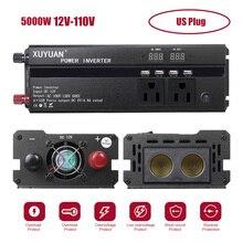 Çift Led ekran araç invertörü 12V 220V 5000W tepe güç inverteri voltaj dönüştürücü trafo 12 V/24 V 110 V/220 V invertör