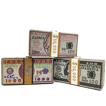 Boutique De FGG Stack Of Cash Dollars Designer Handbags Women Money Box Clutch Evening Bags Diamond Party Cocktail Purse Handbag