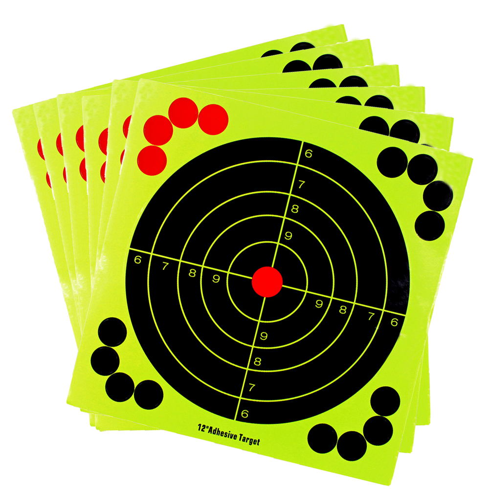12 Inch Paper Shooting Target Adhesive Reactivity Targets Stickers Gun Rifle Pistol Binders Aim Training Hunting Accessories