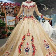 AXJFU luksusowa księżniczka frezowanie kryształowa czerwień kwiat ze złotą koronką na szyję z długim rękawem illusion bride złota suknia ślubna 4041