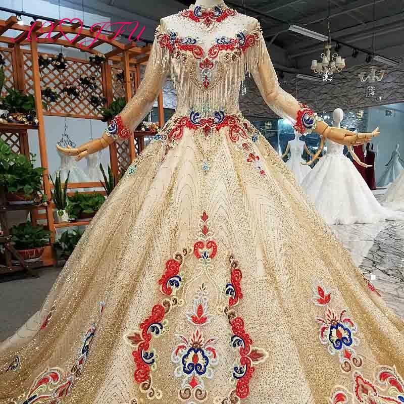 AXJFU роскошное платье принцессы с бусинами и красным цветком, Золотое кружевное платье с высоким воротом и длинным рукавом, свадебное платье для невесты 4041Свадебные платья    АлиЭкспресс