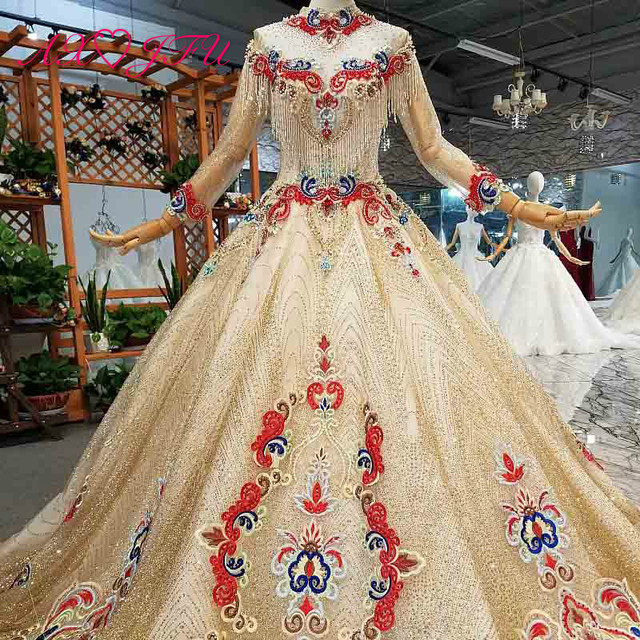 AXJFU יוקרה נסיכה ואגלי קריסטל אדום פרח זהב תחרה גבוהה צוואר ארוך שרוול אשליה הכלה זהב חתונה שמלת 4041