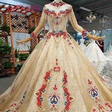 Axjfu luxo princesa beading cristal flor vermelha ouro rendas gola alta manga longa ilusão noiva vestido de casamento dourado 4041