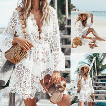 Goocheer Women Summer White Lace Mini Dress Boho Evening Party Beach Casual Short Sundress