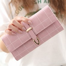 Plaid Nubuck Leather Female Wallet Women Purse Coin Credit Card Holder Business Travel Lady Clutch Bag Organizer Portefeuille