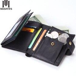MISFITS короткий кошелек для мужчин, высокое качество, натуральная кожа, застежка, открытый кошелек с карманом для монет, Ретро стиль, Воловья к...