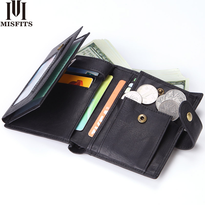 MISFITS Short Wallet Men High Quality Genuine Leather Hasp Open Purse With Coin Pocket Retro Cowhide Male Trifold Design Wallets