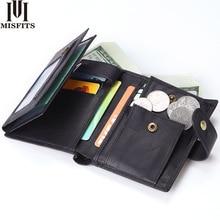 Misfit portefeuille en cuir véritable pour hommes, portefeuille court, porte monnaie avec poche à monnaie rétro en cuir de vache, design tripliable