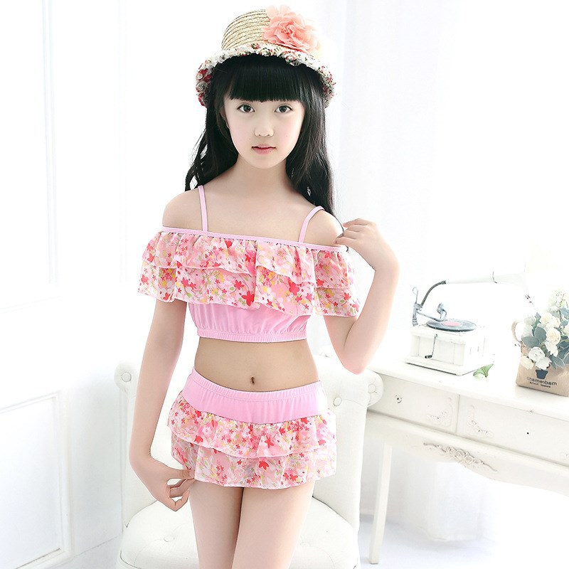 New Style 2018 KID'S Swimwear Girls Qmilch Korean-style Split Skirt-Big Boy Yiwu Industrial Belt Tour Bathing Suit