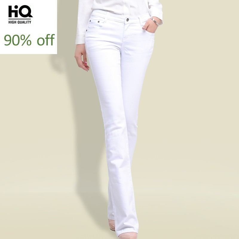 Spring Autumn Skinny High Waist Jeans Pants Long Korean Fashion Stretch Flared Boot Cut Jeans Women White Top Quality Trousers