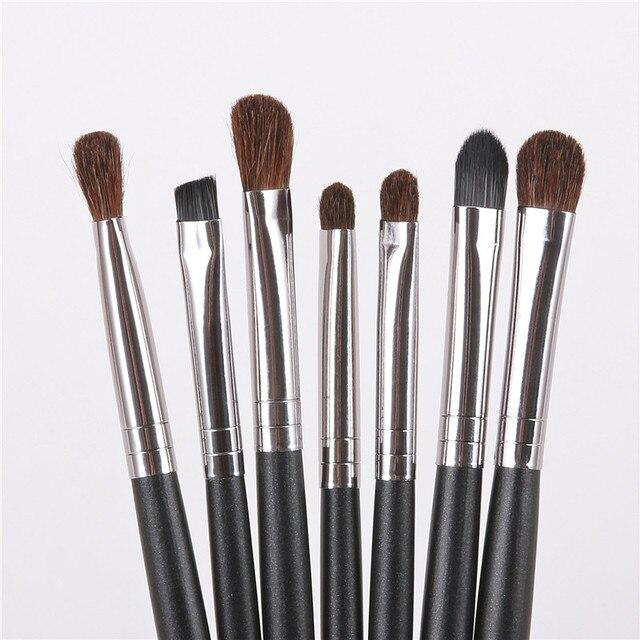 1/7 pièces fard à paupières brosse ensemble noir Pro ombre à paupières mélange brosse cheval cheveux maquillage pinceaux ensemble de pinceaux pour les outils cosmétiques de beauté