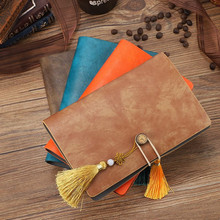 A6 PU Leather Notebook Diary Retro Blank Grid Line Kraft Paper 6 Rings Binder Spiral Notebooks Stationery Travel Journal Notepad