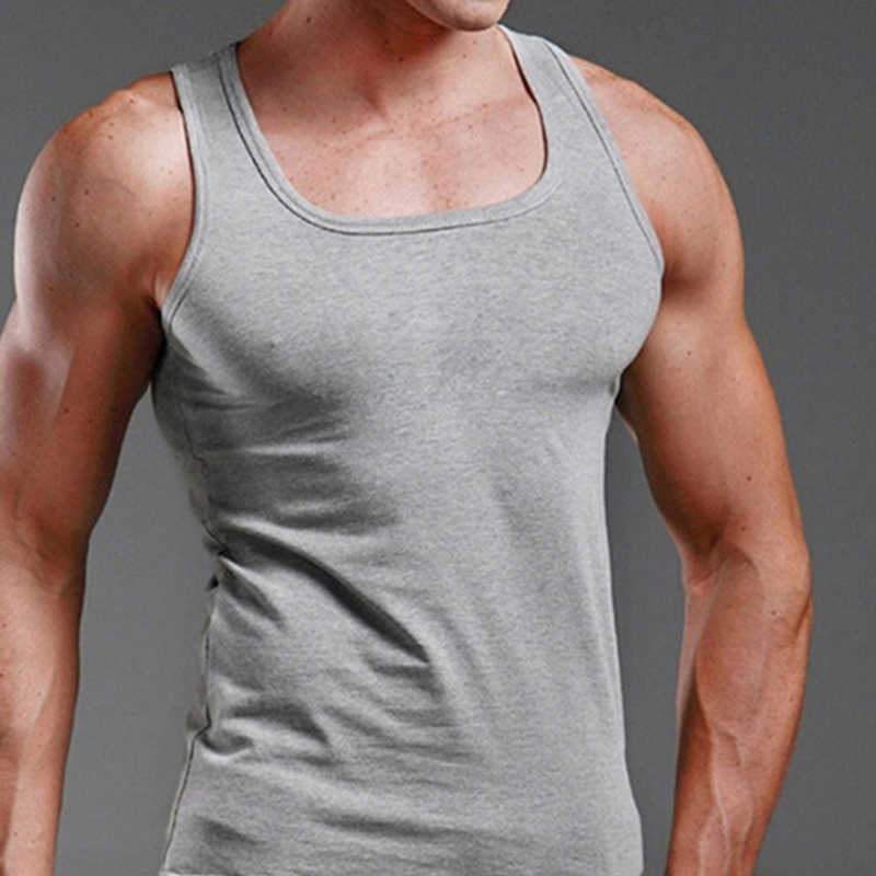 Ropa para hombre, Camiseta de tirantes, Camiseta deportiva para hombres, camisa sin mangas de algodón sólido, camiseta sin mangas, chaleco muscular 2020