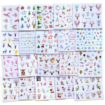1 Sheet Christmas Nail Sticker Sets Mixed Snowflake Santa Claus Deer Pattern Nail Art Water Transfer Slider Foil Decal Xmas Gift christmas santa deer pattern decorative stair decals 6pcs