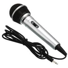 Universal 3.5mm com fio microfone protable desempenho transmissor público ktv karaoke gravação handheld megafone preto prata