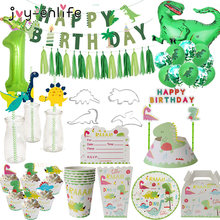 Dino festa balões folha dinossauro puxar bandeira placa de papel copo palha para crianças festa de aniversário chuveiro do bebê decoração crianças festa