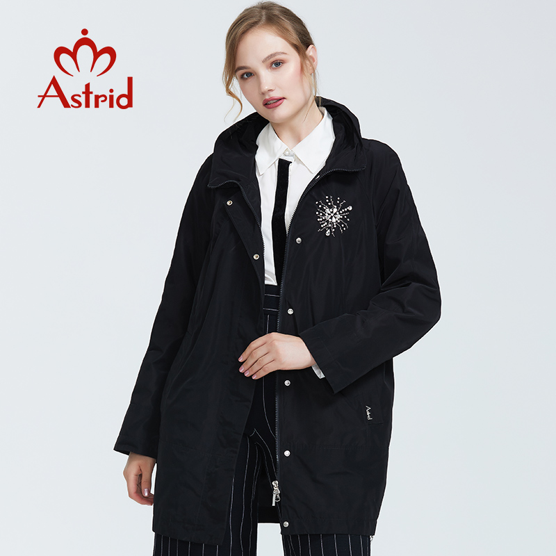 Astrid 2019 Autumn new arrival top gray   trench   coat stand collar mid-length loose women fashion   trench   coat with zipper AS-9116