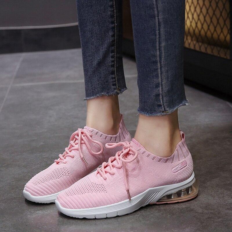 Women Casual Shoes White Comfort Flat Shoes Woman Fashion Flyknit Sneakers Light Tenis Feminino Espadrilles Air Cushion Training