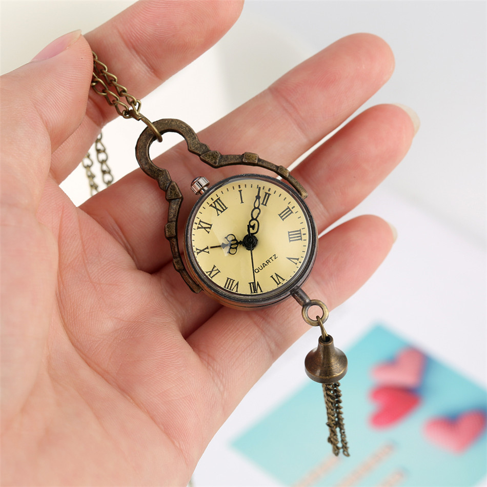 Transparent Ball Shape Bronze Pendant Pocket Watches Retro Accessory Fob Necklace Clock Gifts Unisex  Roman Numeral Analog Dial