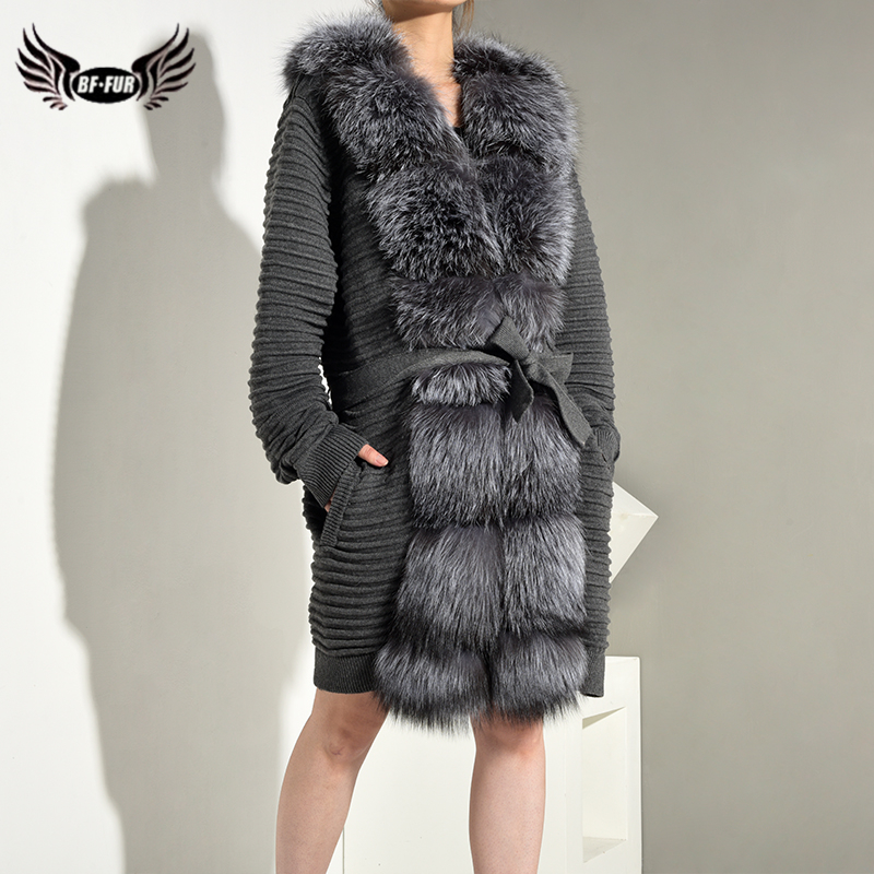 BFFUR 2019 Real Fur Coat Knitted Sleeve With Natrual Fox Fur Long Coat With Belt Luxurious Female Jacket Striped Park With Fur