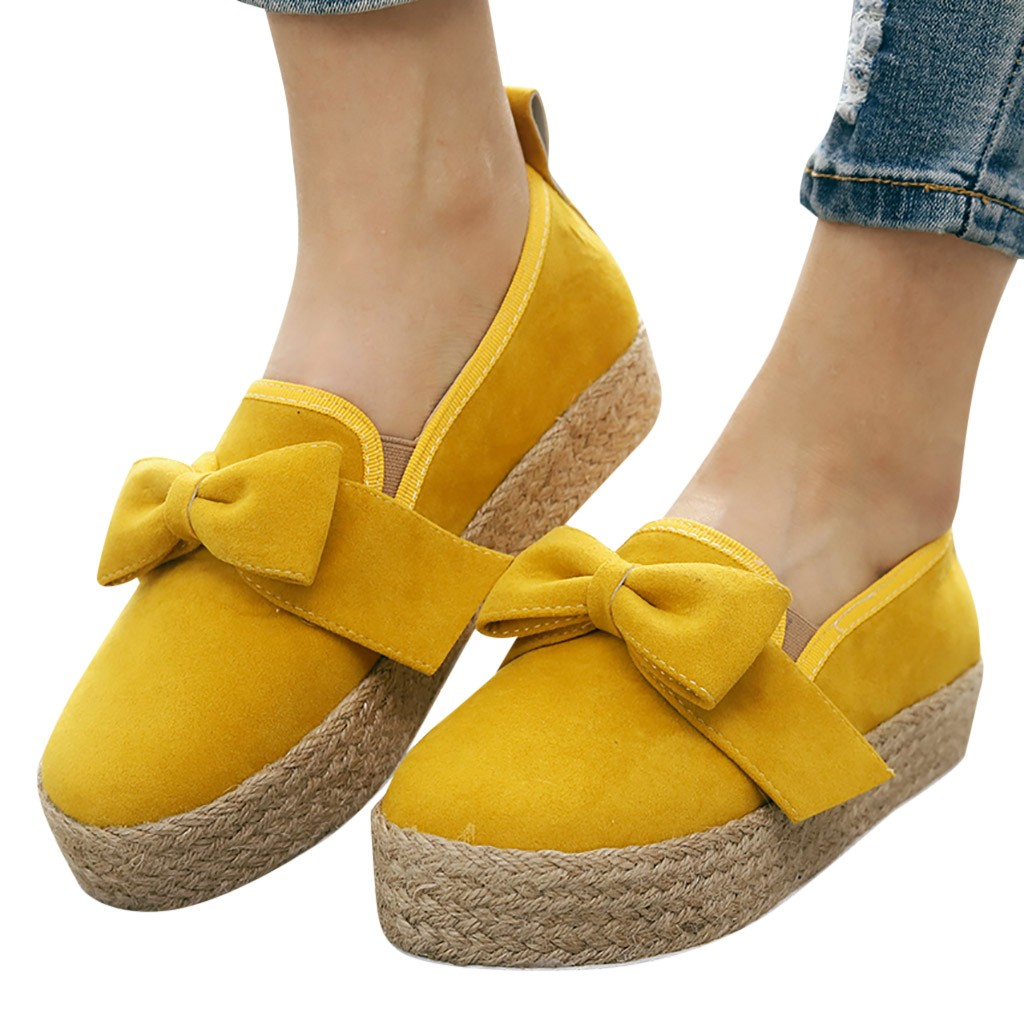 Women's Casual Shoes Butterfly Knotted Thick Bottom Large Size Yellow Female Cute Authentic Popular Sexy Womens Shoes