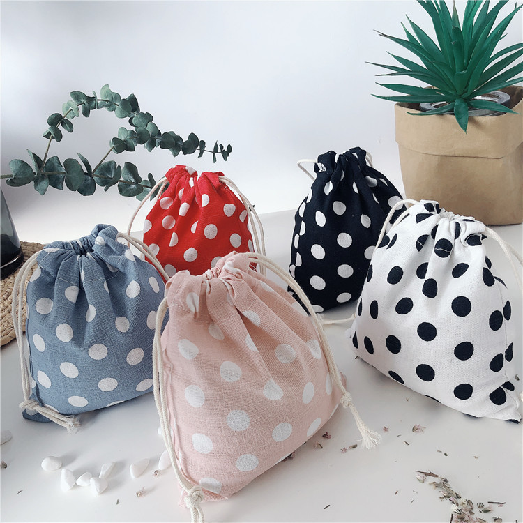 1PCS Women Drawstring Bags Pouch Dot Printed Lipstick Coin Money Candy Storage Bag Food Packing Bags