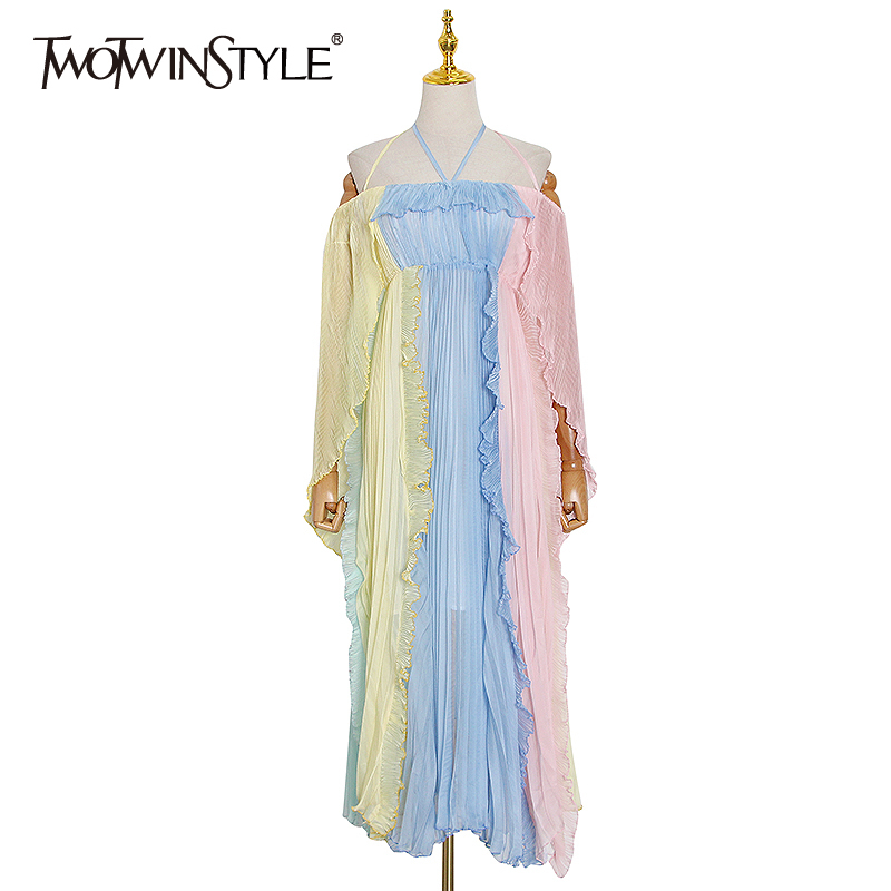 TWOTWINSTYLE Casual Patchwork Ruffles Summer Dress Women V Neck Spaghetti Strap High Waist Hit Color Mesh Dresses Female Fashion