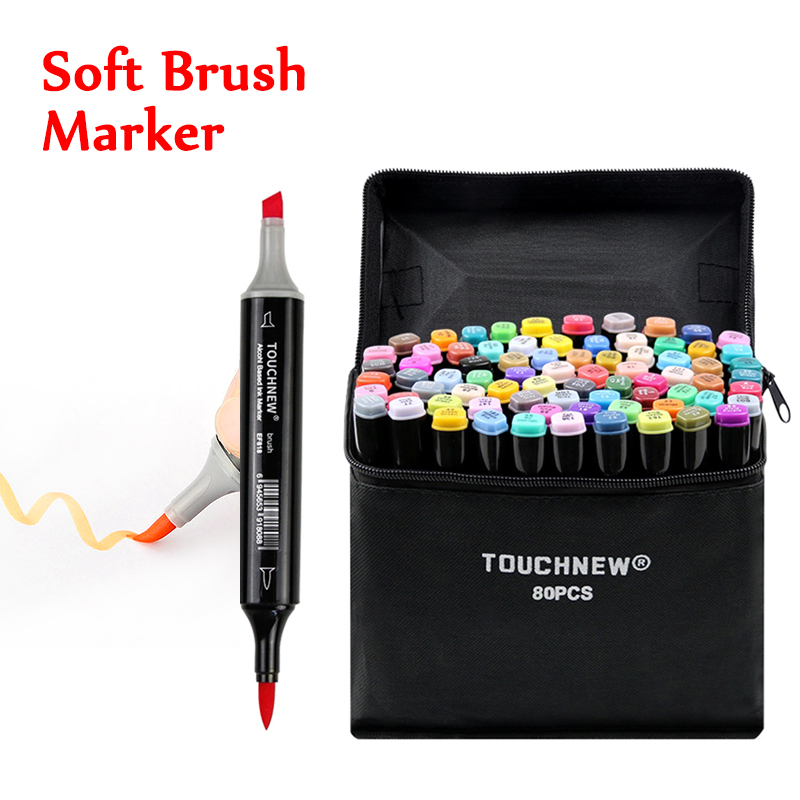 TOUCHNEW 80 ألوان فرشاة لينة علامات القلم نصائح مزدوجة الكحول أساس علامات مجموعة ل مانغا الرسم الرسوم المتحركة تصميم الفن لوازم