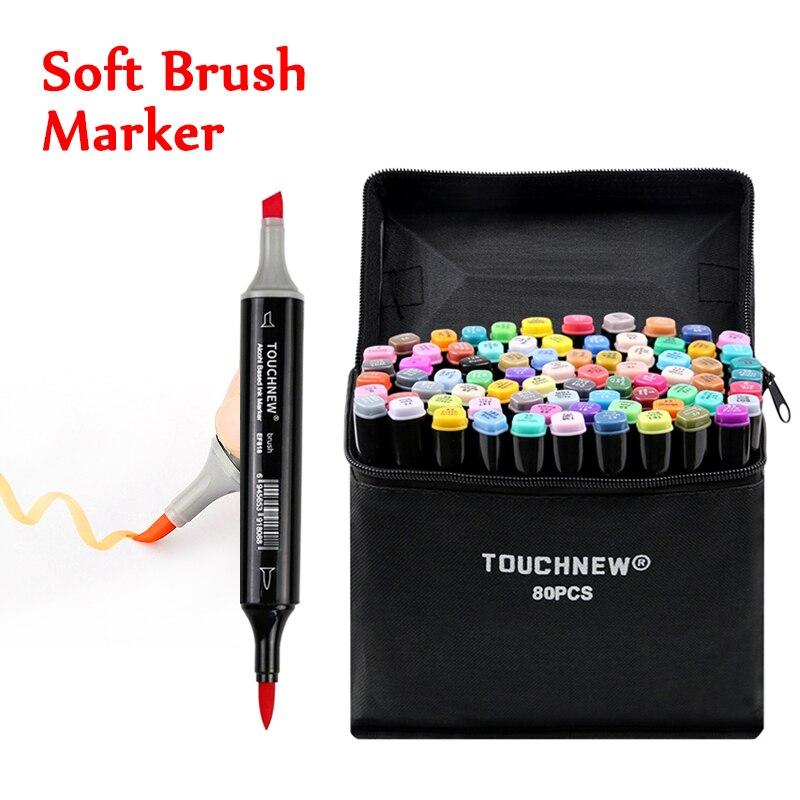TOUCHNEW 80 couleurs doux pinceau marqueurs stylo double conseils à base d'alcool marqueurs ensemble pour dessin Manga Animation Design Art fournitures