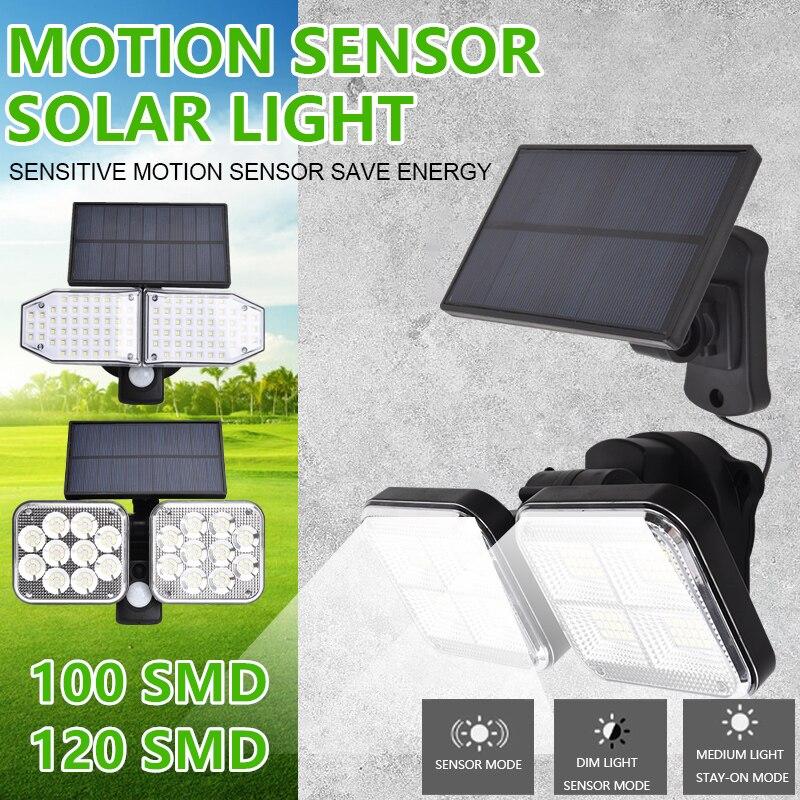 100/120 SMD LED double tête applique murale solaire fendu en plein air humain Induction capteur lampe étanche cour jardin lumière