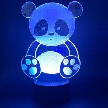 Night Light Led Panda 3D Visual Light Effece For Children Gift Night Lights Bedside Led Night Lamp 7 Color Changing Night Lights 3d visual 7 color changing libra shape touch led night light