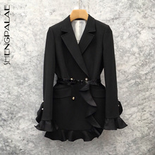 Office Lady Jackets Women Blazers Business SHENGPALAE Coat Suit Spring Slim Double-Breasted