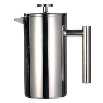 French Press Coffee Tea Maker #8211 Stainless Steel Coffee Pot Double Wall Vacuum Isnulated Portable Glass Tea Brewer with Filter tanie i dobre opinie Leeseph CN (pochodzenie) 1 0l Francuski Prasy