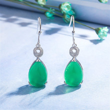 Natural Green Jade Chalcedony Water Drop Earrings 925 Silver