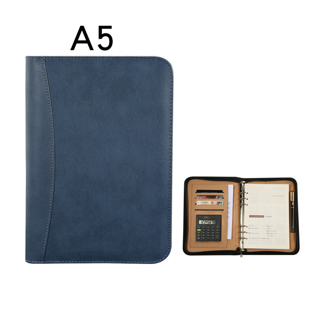 A5 Faux Leather <font><b>Notebook</b></font> <font><b>Spiral</b></font> <font><b>Personal</b></font> Diary Planner Organizer Notepad Travel Agenda Manager Folder Calculator image