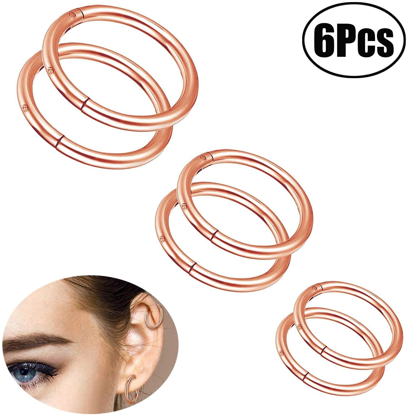 Lvcky 6 Pieces 16 Gauge Stainless Steel Nose Ring Hoop Seamless