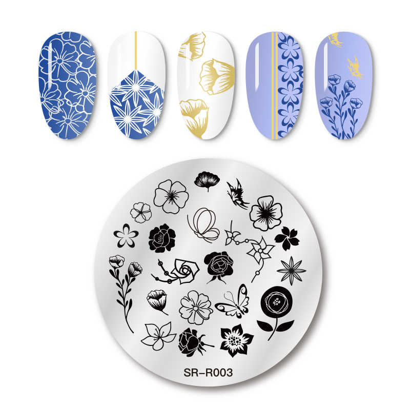 Four Lily Round Stamping Plates Flowers Pattern Series Nail Image Stainless Steel Stamp Templates Nail Art Design Tools