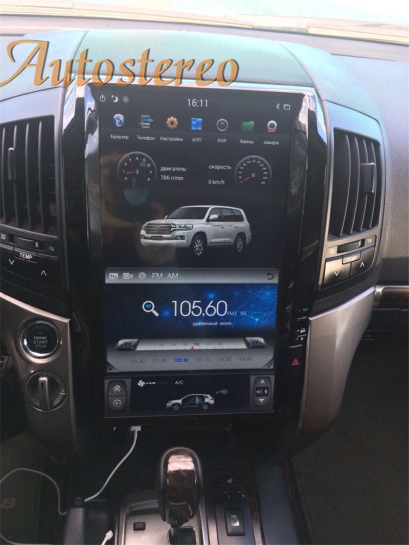Android 9.0 64+4GB 16 Inch Tesla Style Car GPS Navigation For TOYOTA LAND CRUISER LC200 2008-15 Radio Headunit Multimedia Player