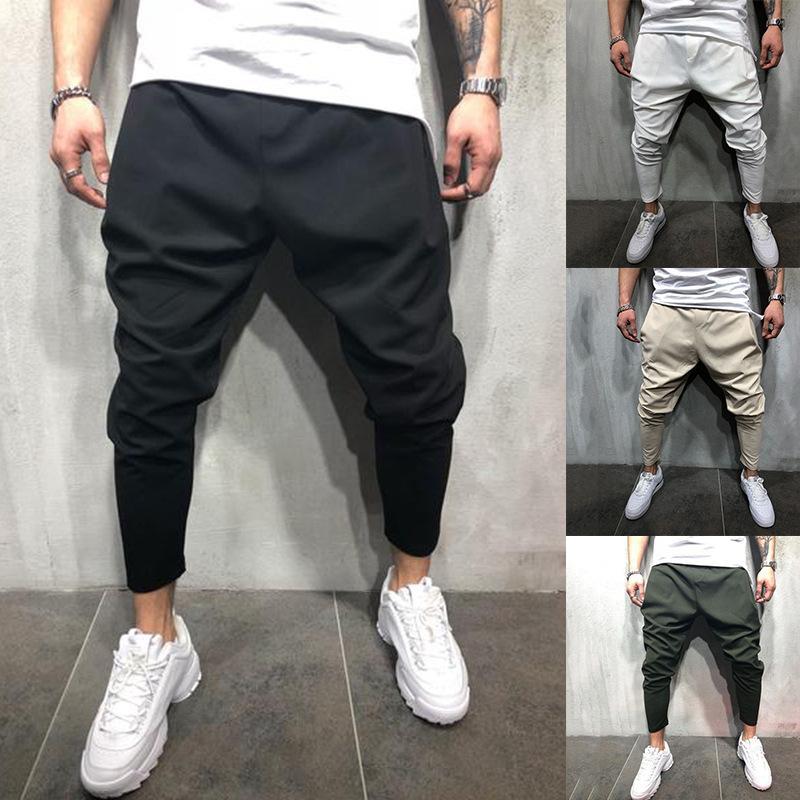 Casual Men Solid Color Harem Pants Hip Hop Jog-ging Sports Ankle-Tied Trousers Hot Sale
