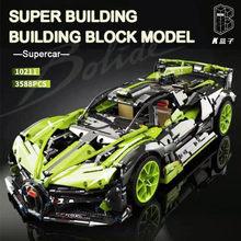 MOC 2021 Racing 3588pcs Building Blocks Green Super Sports RC Car Model Bricks Kids Toys Boyfriend Gift for Adult