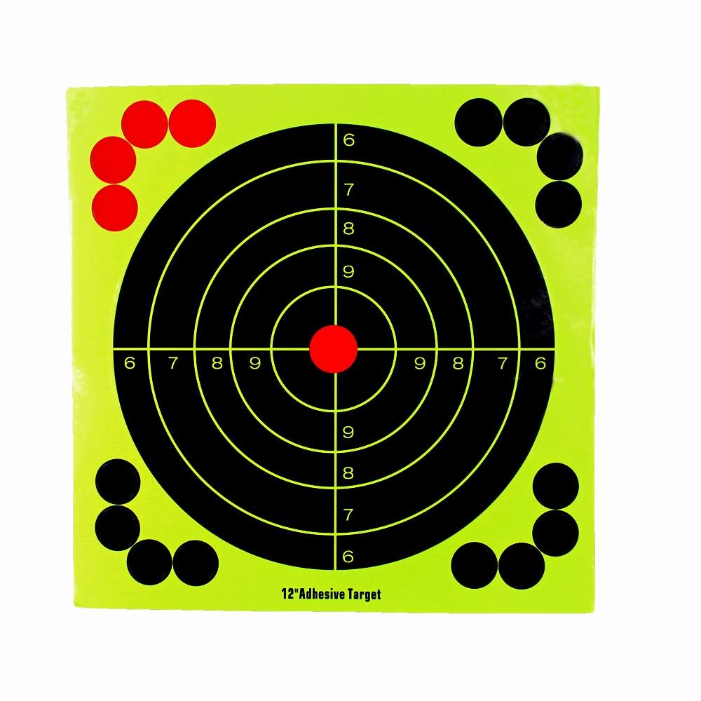 Shooting Targets 12 Inch Adhesive Target Splatter Glow Shot Rifle Florescent Paper Target 5 Piece